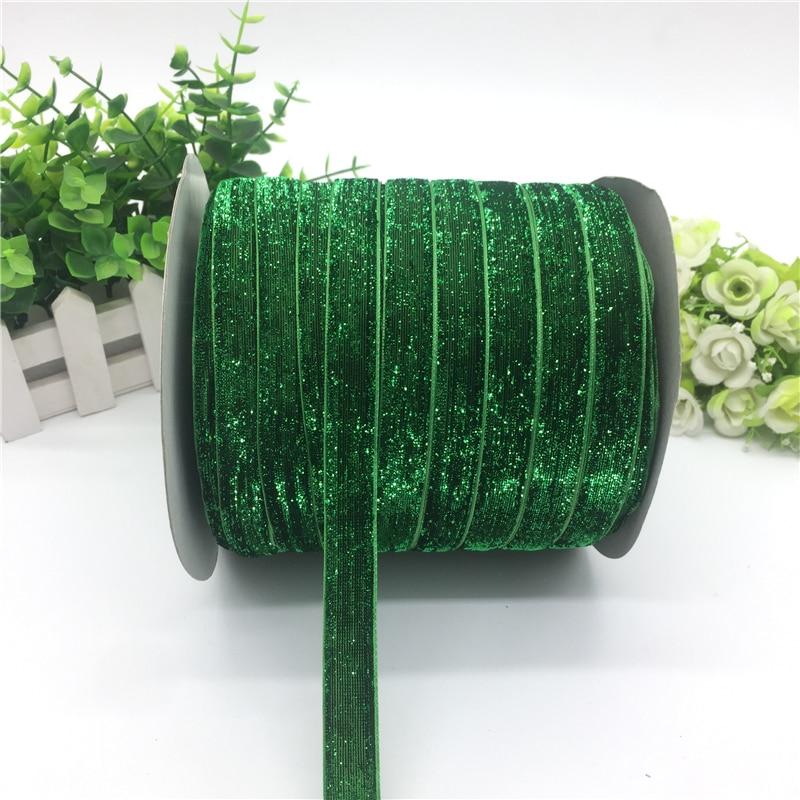 """5 ярдов 5/""""(15 мм) бархатная лента для украшения свадебной вечеринки лента ручной работы подарочная упаковка бантик для волос DIY Рождественская лента - Цвет: GlitterGreen"""
