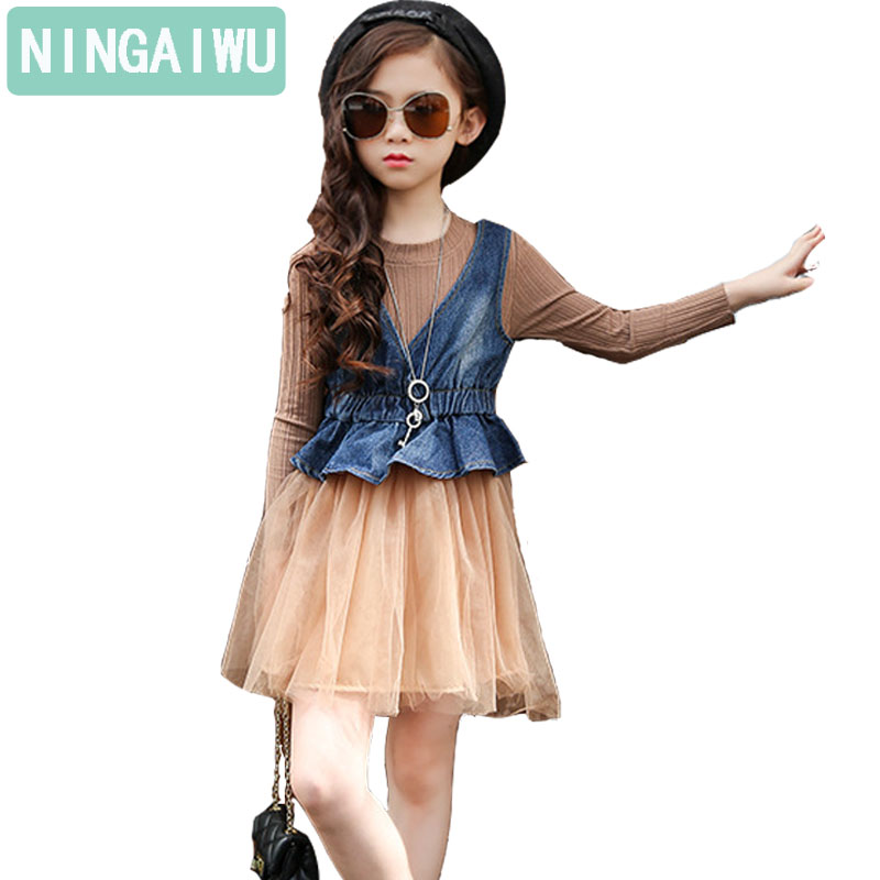 Children's clothes girl dress new cowboy vests long-sleeved veil dresses girls Baby fashion two-piece kids suits spring clothing tops dress girls dresses girl clothes autumn style fashion cowboy vest 2017 new 2 pieces set