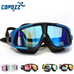نظارات السباحة من COPOZZ نظارات سباحة مريحة من السيليكون بإطار كبير مضادة للضباب والأشعة فوق البنفسجية قناع سباحة للرجال والنساء مقاوم للماء