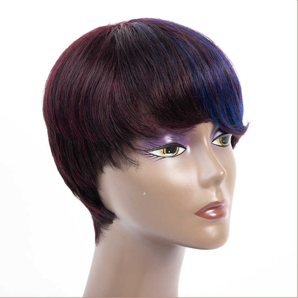 HairUGo krótki Bob koronki włosów ludzkich peruki dla kobiet Malaysian130 % gęstość nie Remy ludzki włos Bob peruka Pre oskubane włosy faliste krótki 6 cal peruka