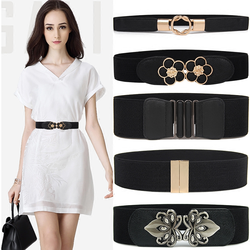 High Quality Black Cummerbund Fashion Women Party Stretch Elastic Waistband Wide Metal Buckle Belts Lady Dress Accessories Gifts