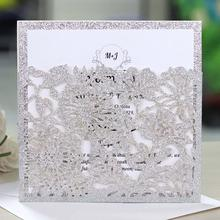 10Pcs European Style Bag Invitations Infrared Hollow Powdered Glitter Cut Wedding Invitation Cards