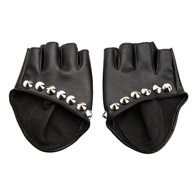 Female Gloves 2017 Fashion Women PU Leather Motorcycle Bike Car Fingerless Performances Gloves Fingerless Gloves for Fitness