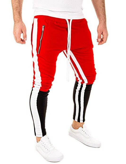 Men's New Stylish All-in-one Pocket Tether Stripe Tracksuit Pants With Matching Color Hip Hop Fitness Stitching Pants