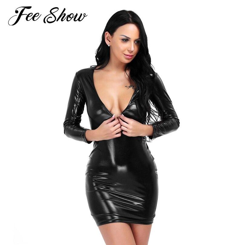 Womens Black Deep V-neck Shiny Leather Bodycon Bandage Party Dress Clubwear Sexy Women's Shiny Leather bodycon Exotic dresses