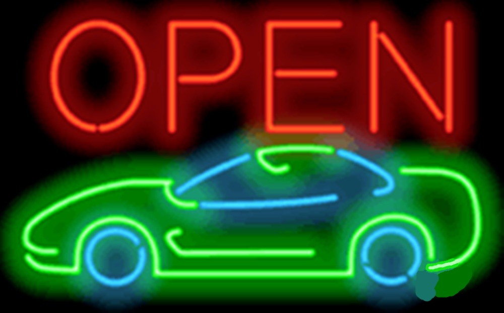 """Open with Car Businese Repair Car Auto <font><b>Glass</b></font> Tube neon sign Handcrafted Automotive signs Shop Store Business signage 17\""""x14\"""""""