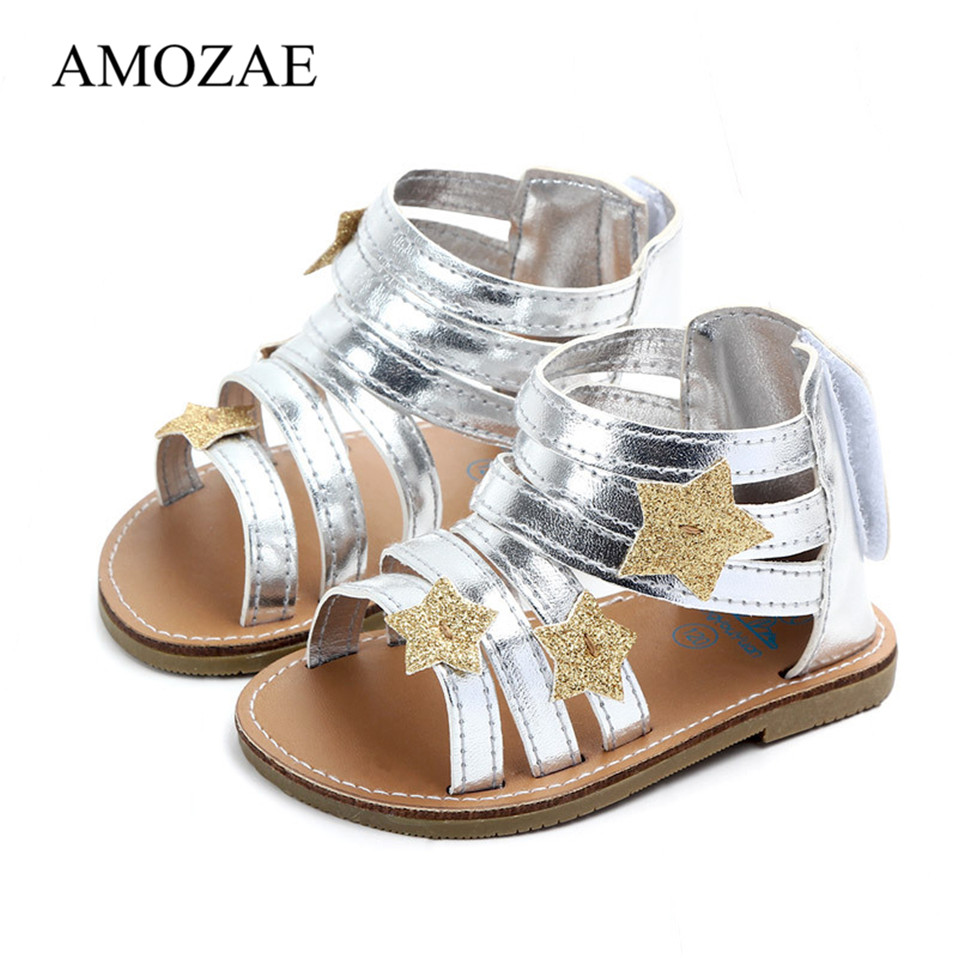 Summer Baby Girl Sandals PU Leather With Shinning Star Baby Sandals For Newborn Rubber Soles High Quality Kids Moccasins