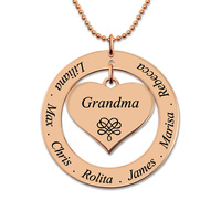 Personalized Engraved Circle Necklace Heart Pendant For Grandma Family Name Necklace Rose Gold Color