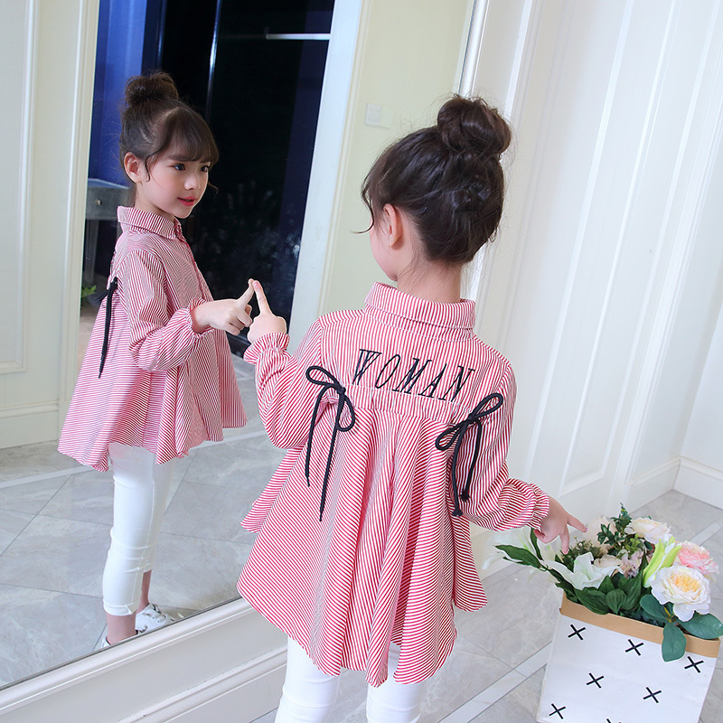 2018 Autumn Clothing Girl Embroidery Jacket Fashion Long Sleeve Stripe Shirt White Blouse Christmas Costumes Girls Childrens fashion easy matched stripe pattern shirt