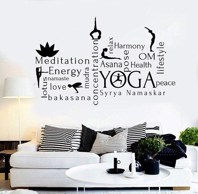 Vinyl wall decal yoga center word meditation constitutes a health sticker yoga training center wall sticker home decoration YJ19