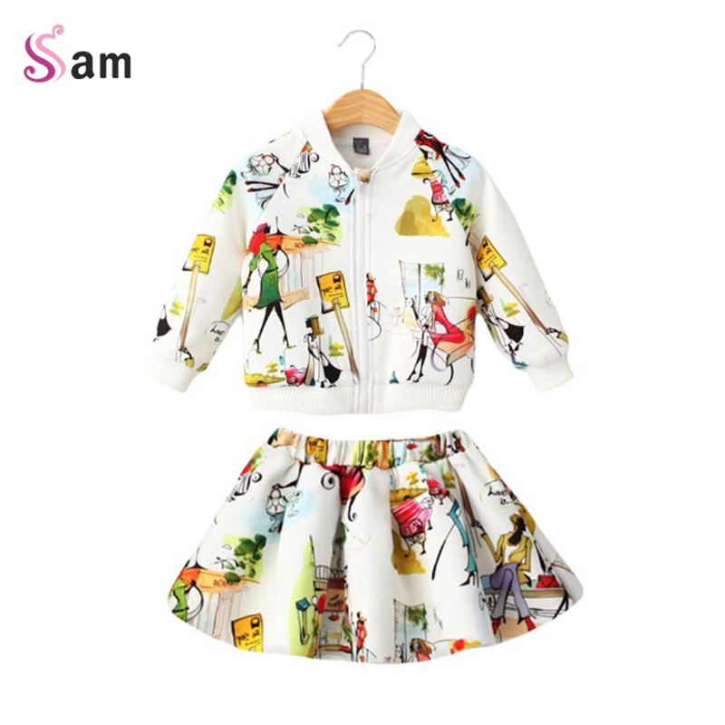 Children Clothing Girls Set Kids Clothes Brand Girls Clothing Winter Sport Suits Toddler 2 PCS ( Jacket + Skirt )