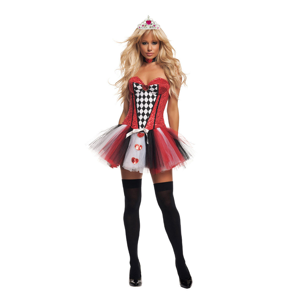 VASHEJIANG  Adult Womens Poker Red Queen of Hearts Costume Sexy  Alice in Wonderland Queen of Hearts Costume For Halloween party