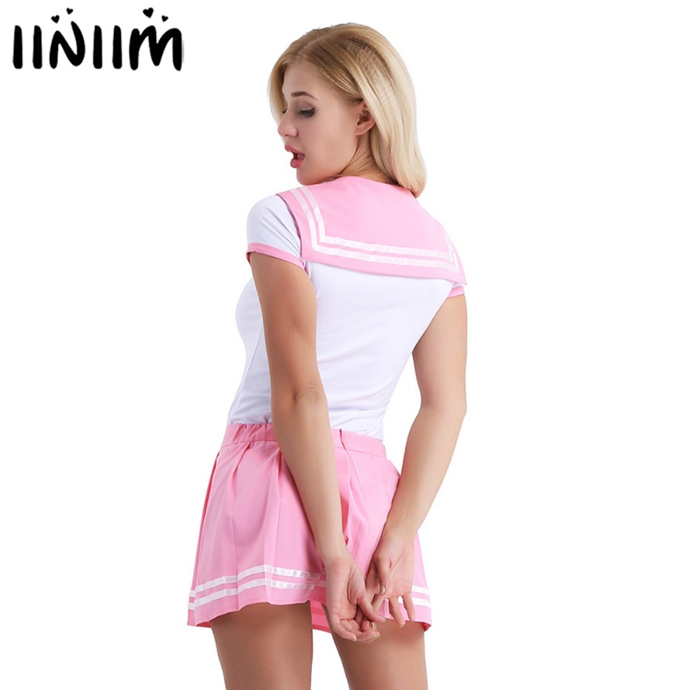 2Pcs Women Adult Babies Clothing Snap Crotch School Girls Sexy Romper with Mini Pleated Skirt Cosplay Costumes Party Clubwear