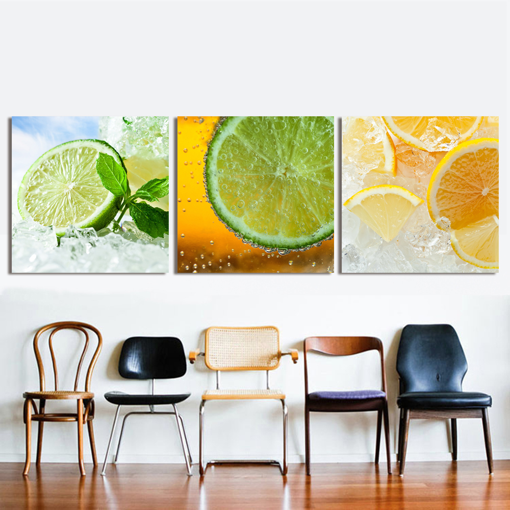 9 Lemon Home Decor Ideas: QKART Oil Painting Wall Pictures For Living Room Wine
