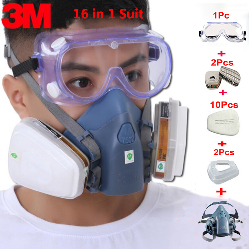 3M 7502 18 in 1 Suit Spraying Painting Respirator Gas Mask Half Face Anti Dust Mask With 1621 Safety Protection Goggles 15 in 1 suit painting spraying 3m 6200 half face gas mask respirator chemcial industry anti dust work respirator mask