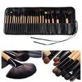 Nuevo Pro 24 Unids Pinceles de Maquillaje Kit de Sombra de Ojos En Polvo Herramienta Cosmética Sistema de cepillo + Estuche Pinceles de Maquillaje de Alta Calidad Set VD084 T30