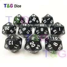 T&G Polyhedral Digital Cube Custom Sided Black &White Dice of D4/D6/D8/D10/D10%/D12/D20 for Dungeons and Dragons Board Game