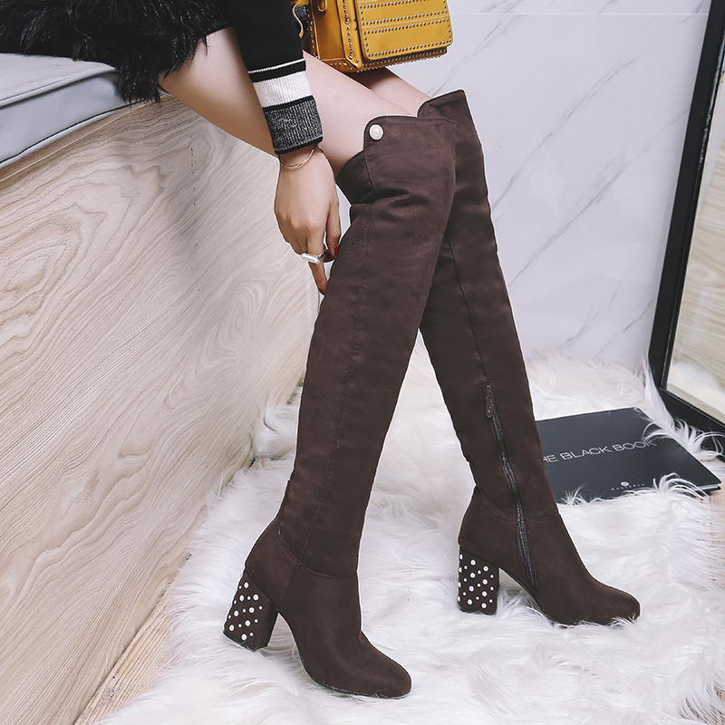 KEBEIORITY Black Brown Thigh High Boots Women Autumn Winter Women Over the Knee Boots Heels Stretch Sexy Fashion Shoes 2018 kebeiority sexy thigh high boots women spring autumn lace up high heels stretch boots shoes fashion over the knee long boots