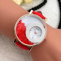 Fashion Women Quartz Watch Rhinestone Dial PU Leather Strap Wristwatch Jewelry Gifts LL@17