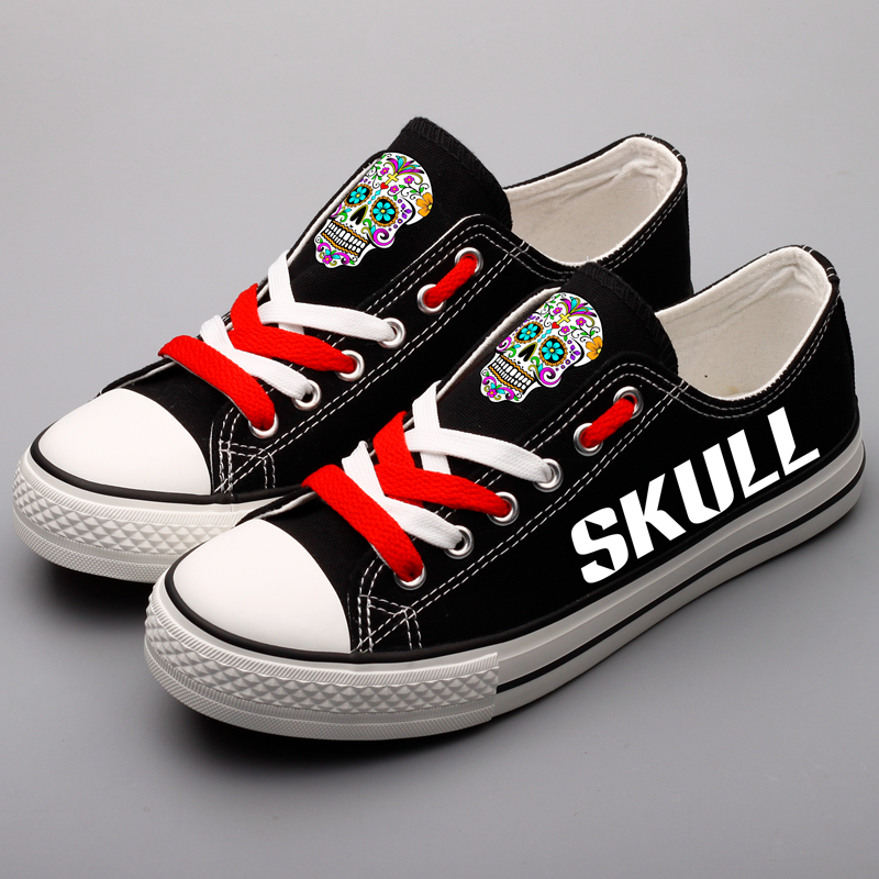 Unique Sugar Skull Printed Canvas Shoes Men Hip Hop Casual Walking Espadrille Novelty Skeleton Head Designer Flat Tenis Shoes printed assassins creed canvas shoes fashion design hip hop streetwear unisex casual shoes graffiti women flat shoe sapatos