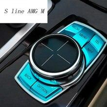 Car Styling pokrywa przycisków multimedialnych naklejka gałka dekoracyjna rama dla bmw f30 f10 f20 f25 f07 x1 x3 x5 x6 1/2/3/4/5/6/7 serii