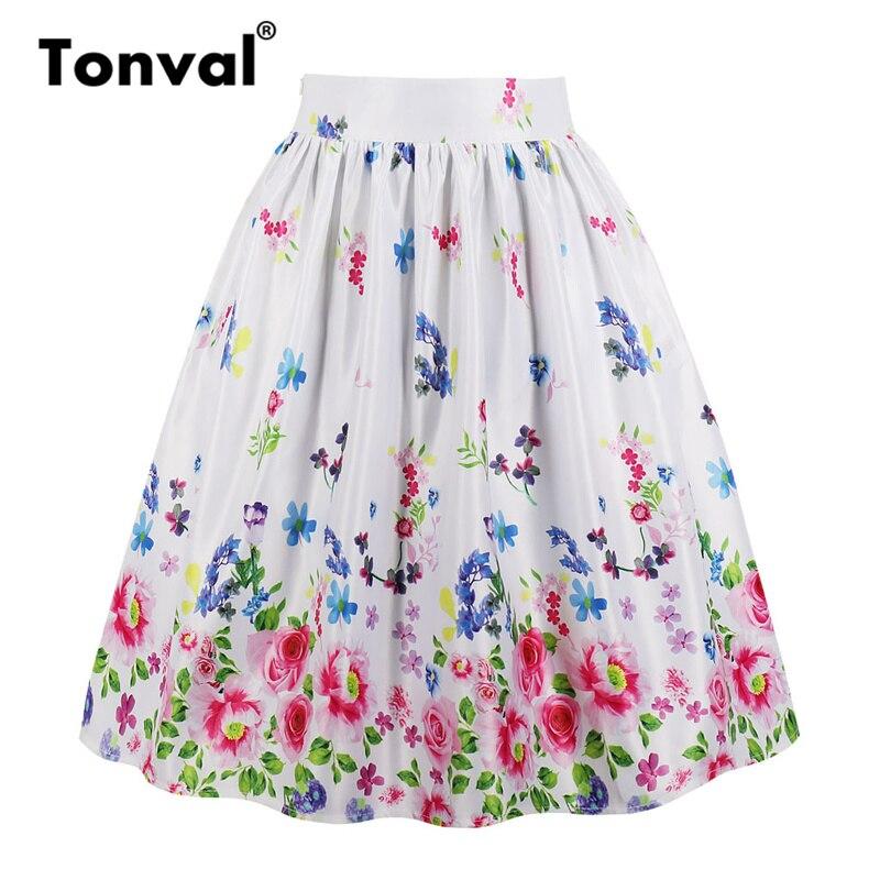 34a7eeb46 Falda con estampado Floral Multicolor Tonval faldas plisadas blancas  bolsillos Vintage Midi 2019 talla grande falda de verano de cintura alta