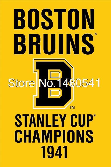 <font><b>Boston</b></font> <font><b>Bruins</b></font> <font><b>Stanley</b></font> <font><b>Cup</b></font> <font><b>Champions</b></font> <font><b>1941</b></font> Flag 3ft x 5ft Polyester NHL Team Banner Flying <font><b>Size</b></font> No.4 144* 96cm QingQing Flag