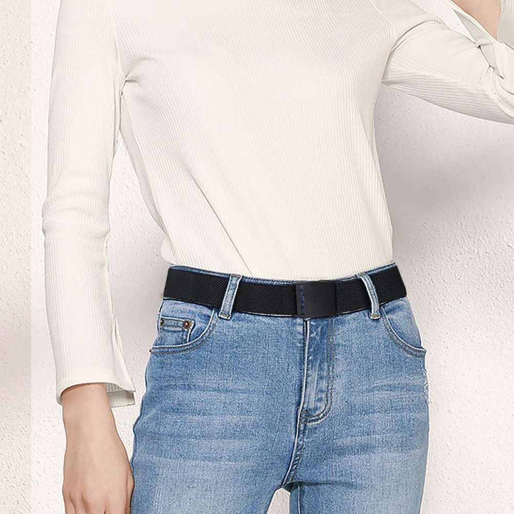 Women Men Solid Flat Buckle Stretch For Jeans Elastic Clothes Accessories Waist   Belt   Adjustable Decorative Fashion Gifts Casual