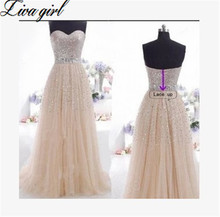 Liva Girl 2016 European Evening Dress Long Prom Gown Sweetheart Beading Crystal Tulle Evening Gown A Line Formal Evening Dresses