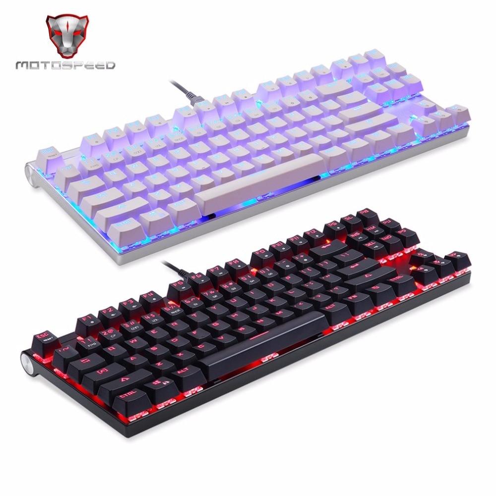 цена на Motospeed CK101 Wired Mechanical Keyboard Metal 87 Keys RGB Blue Red Switch Game keyboard LED Backlit Anti-Ghosting for Computer