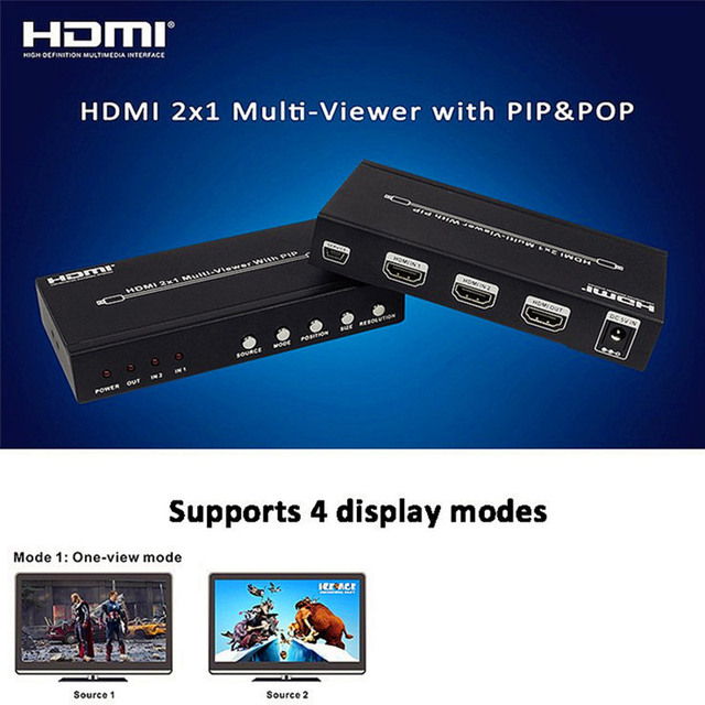 Free shipping DHL Fedex HDMI 2x1 Multi-Viewer With PIP YT-HDS821P 1080p Seamless switcher 2 into 1 HDTV