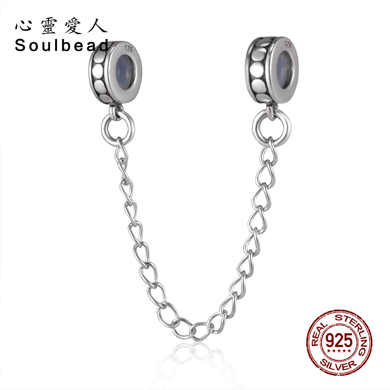 Soulbeads Safety Chain Rubber Stopper 925 Sterling Silver Charms for Snake Chain Bracelets