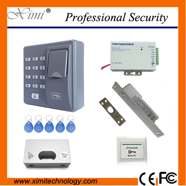 Access control kit contain standalone fingerprint access control X6 + power supply+electric lock+exit button + bracket biometric fingerprint access controller tcp ip fingerprint door access control reader