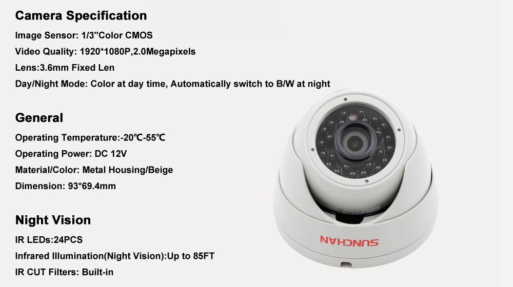 SUNCHAN 2.0MP 1080P AHD Indoor Dome Home Security System CCTV Camera