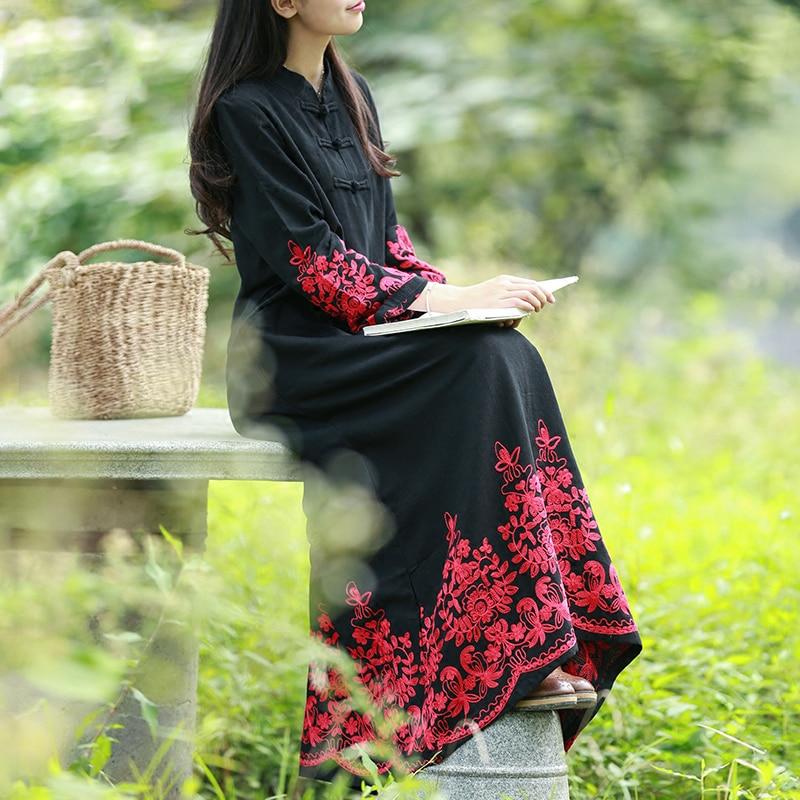 LZJN bata de algodón Chic 2019 Primavera Verano Maxi vestido elegante Floral bordado estilo chino manga larga vestido-in Vestidos from Ropa de mujer    1