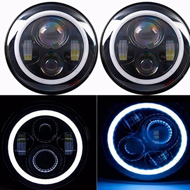 7INCH Round Black Housing Motorcycle headlights with Blue Halo Angel eyes for Jeep 97-15 Wrangler JK LJ TJ 7inch led motorcycle headlights 7 round 40w high low beam with angel eyes for 97 2015 jeeps wrangler jk