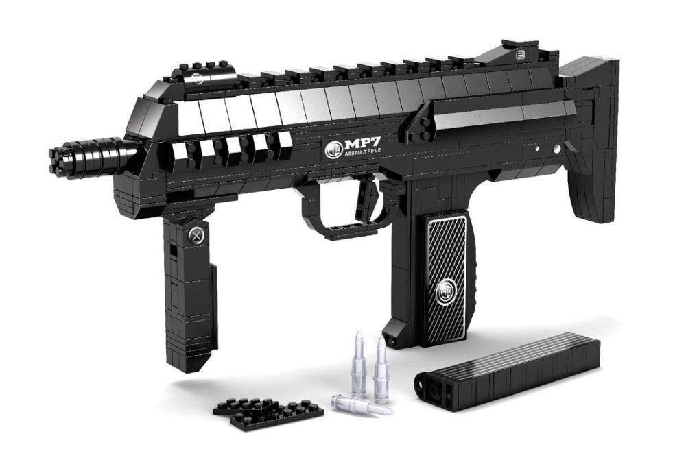 MP7 Submachine Assault GUN Weapon Arms Model 1:1 3D 508pcs Model Brick Gun Building Block Set Toy Gift For Children