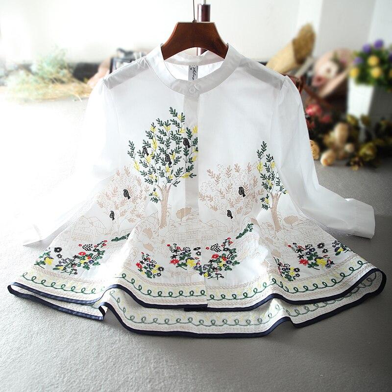 Col montant ample grande taille broderie cape blouse femmes demi manches une ligne poupée chemise hauts grande taille 2XL