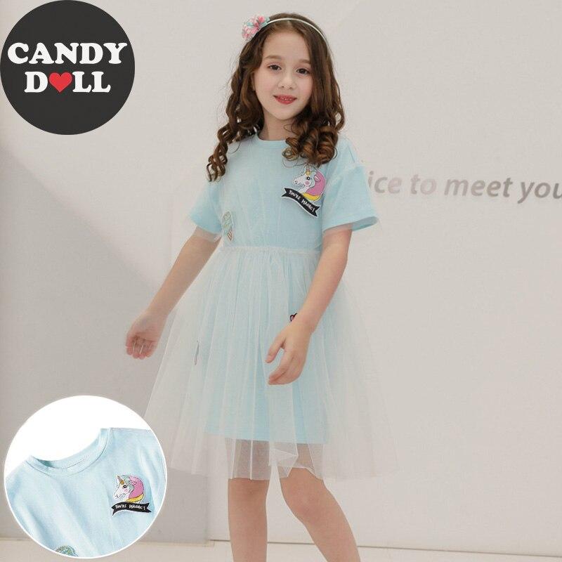 CANDYDOLL 2019 Summer Mesh Dress Girls Cartoon Stickers Patch Dress Kids Short Sleeve Dresses Light Blue Age 3456789 10 Years