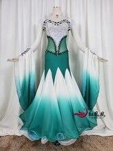 купить 2019 New Standard Ballroom Dresses Girls Long Sleeve Lycra Stretchy Dancing Costume Adult Waltz Ballroom Competition Dance Dress по цене 22616.38 рублей