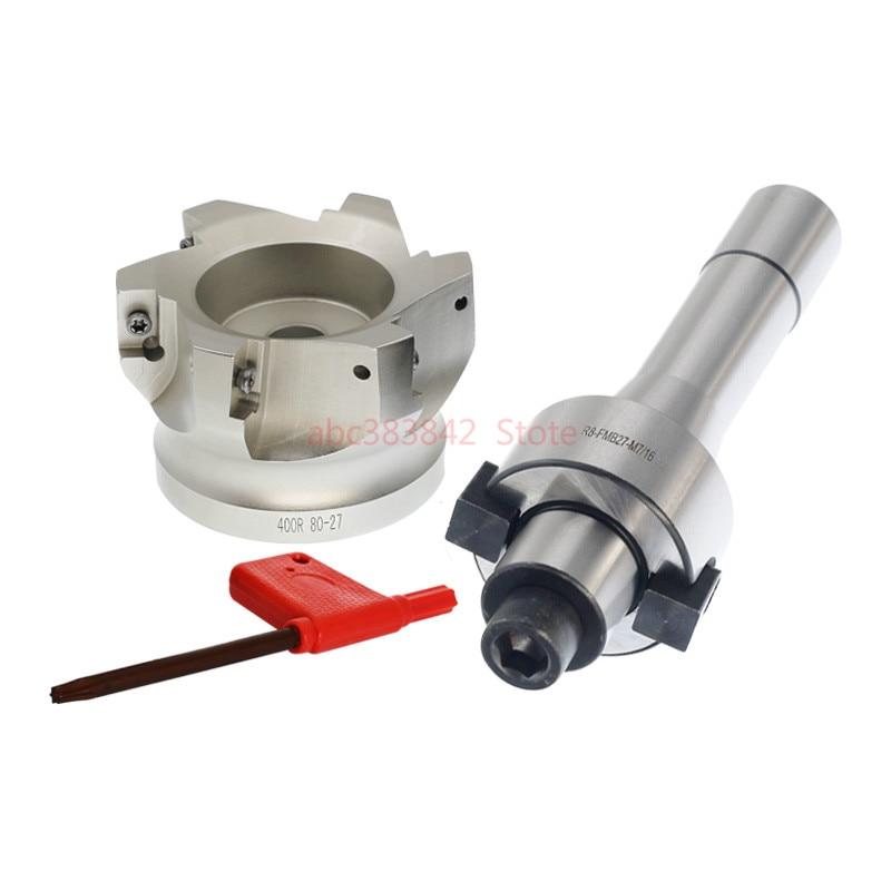1set R8 FMB27 7/16 shank end mill arbor +400R 80-27 face milling cutter for CNC milling for APMT1604 Insert1set R8 FMB27 7/16 shank end mill arbor +400R 80-27 face milling cutter for CNC milling for APMT1604 Insert