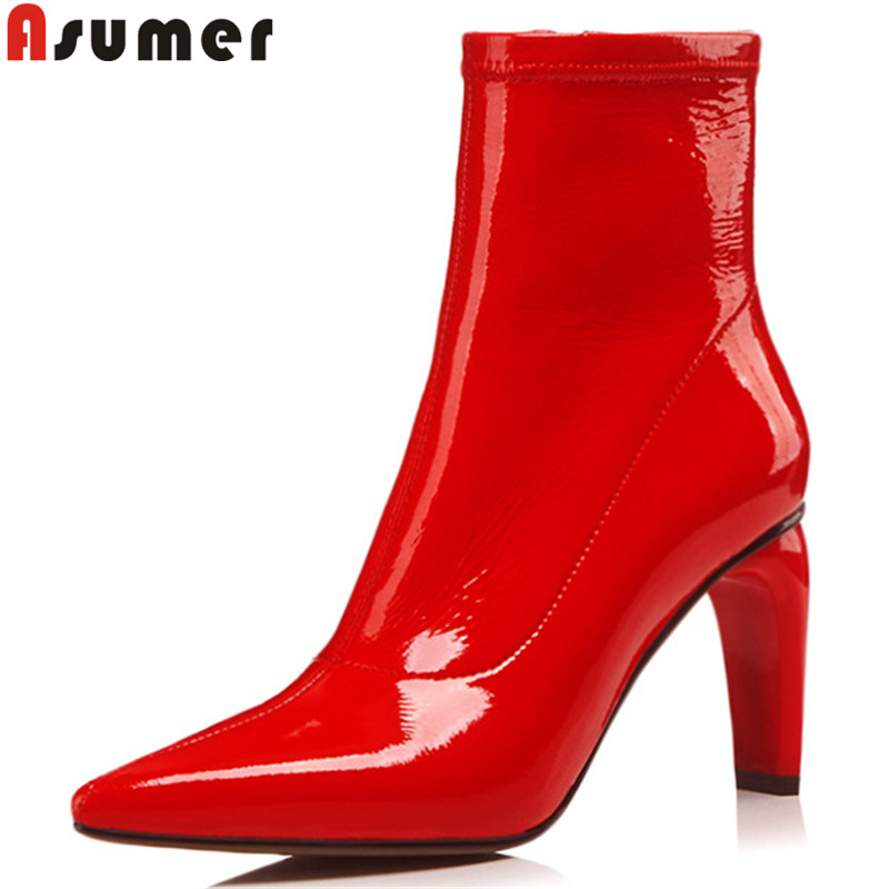 ASUMER black red fashion boots women pointed toe zip kid patent leather boots high heels ladies prom ankle boots big size 34-40 size 34 39 advanced pu leather ankle pointed toe zip thin high heels boots for women black white red new fashion boots