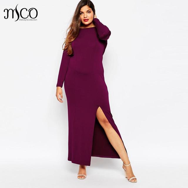 840562c7068fa Aliexpress.com : Buy Brand Sexy Cowl Back Slit Maxi Dress Elegant Long  Sleeve Bodycon Evening Prom Women Dresses Plus Size Robe Longue Femme 5XL  6XL ...