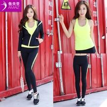 ( Pants + vest + Top ) Hot Shaper Selling Super Stretch Neoprene Shapers Sports Clothing Set Women's Slimming Yoga Sets 3pcs
