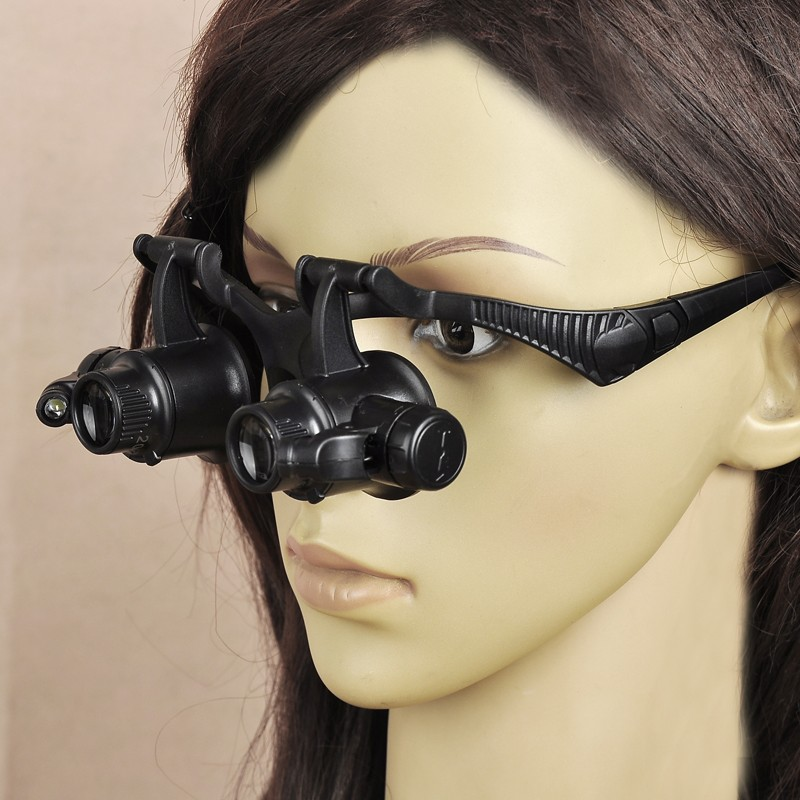 10X 15X 20X 25X LED Magnifying Magnifier Eye Glasses Loupe Watch Jeweler Repair цены