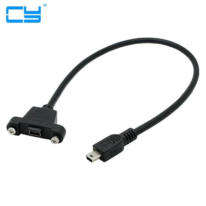 Bloqueio Parafuso Panel Mount Mini USB 2.0 5 p Masculino Tipo para Femea M/F Extensao Data Sync Cabo De Carga de Energia 30 cm