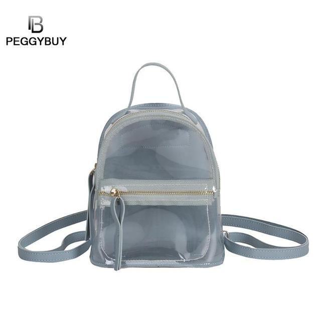 5a0feb28c8 Preppy Style Women Backpacks Girls Clear Jelly PVC Shoulder School Bags Female  Fashion Mini Backpack