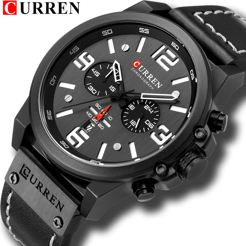 Men's Watches 2018 Luxury Brand CURREN Reloj Hombre Casual Quartz Leather Wristwatch Chronograph And Date Window Waterproof 30M