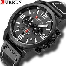Relógios masculinos 2018 marca de luxo curren reloj hombre casual quartzo couro relógio de pulso cronógrafo e janela data à prova d30 água 30 m