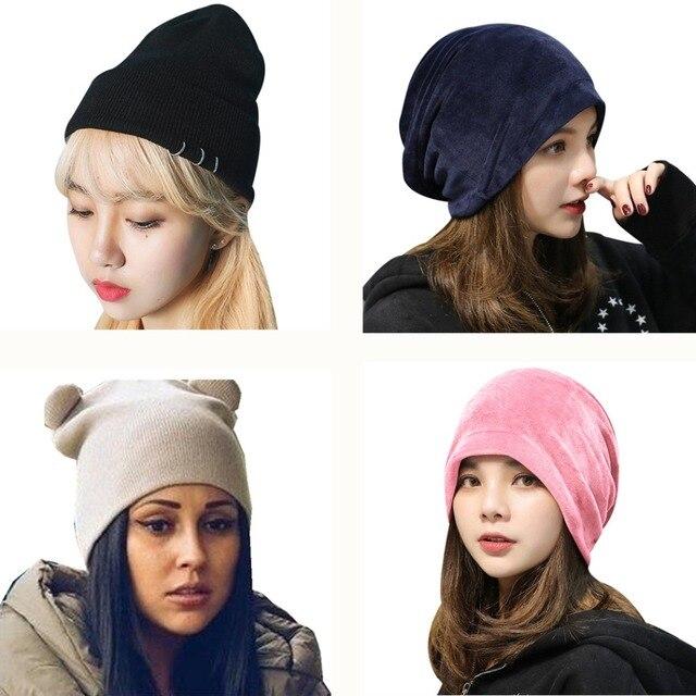 788755f46b7d4 16 Style Women Hats Men Beanie Winter Spring Warm Velvet Knitted Caps  Casual Iron Ring Solid Hat Male Female Hip Hop Cap Bonnet